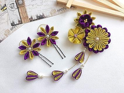 Kanzashi japonés flores pelo clip pins de pelo Tsumami Kanzashi - Juego de  3 piezas para 224f2b62f410