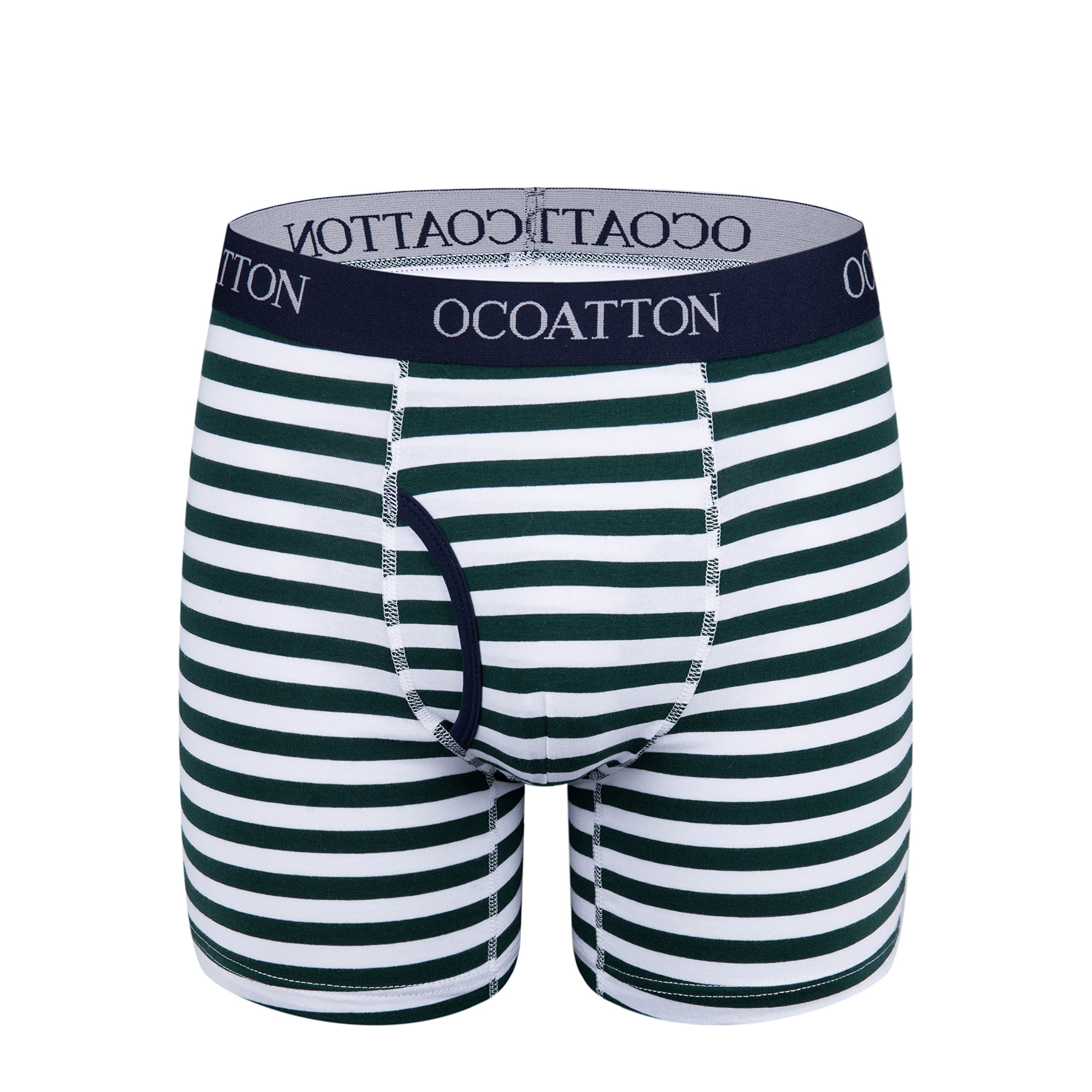 OCOATTON Men's Boxer Briefs Cotton Striped Underwear with Front Fly 6-Pack (XXXL, 2black/2green/2red) by OCOATTON (Image #3)