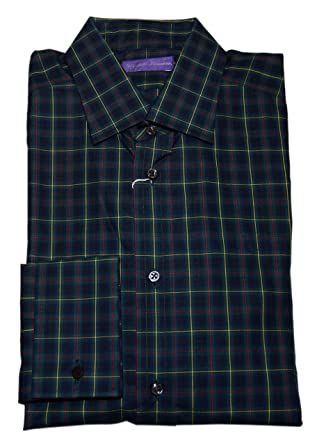 6ba61b14 Ralph Lauren Polo Purple Label French Cuff Plaid Dress Shirt Green Red  Italy 16 at Amazon Men's Clothing store: