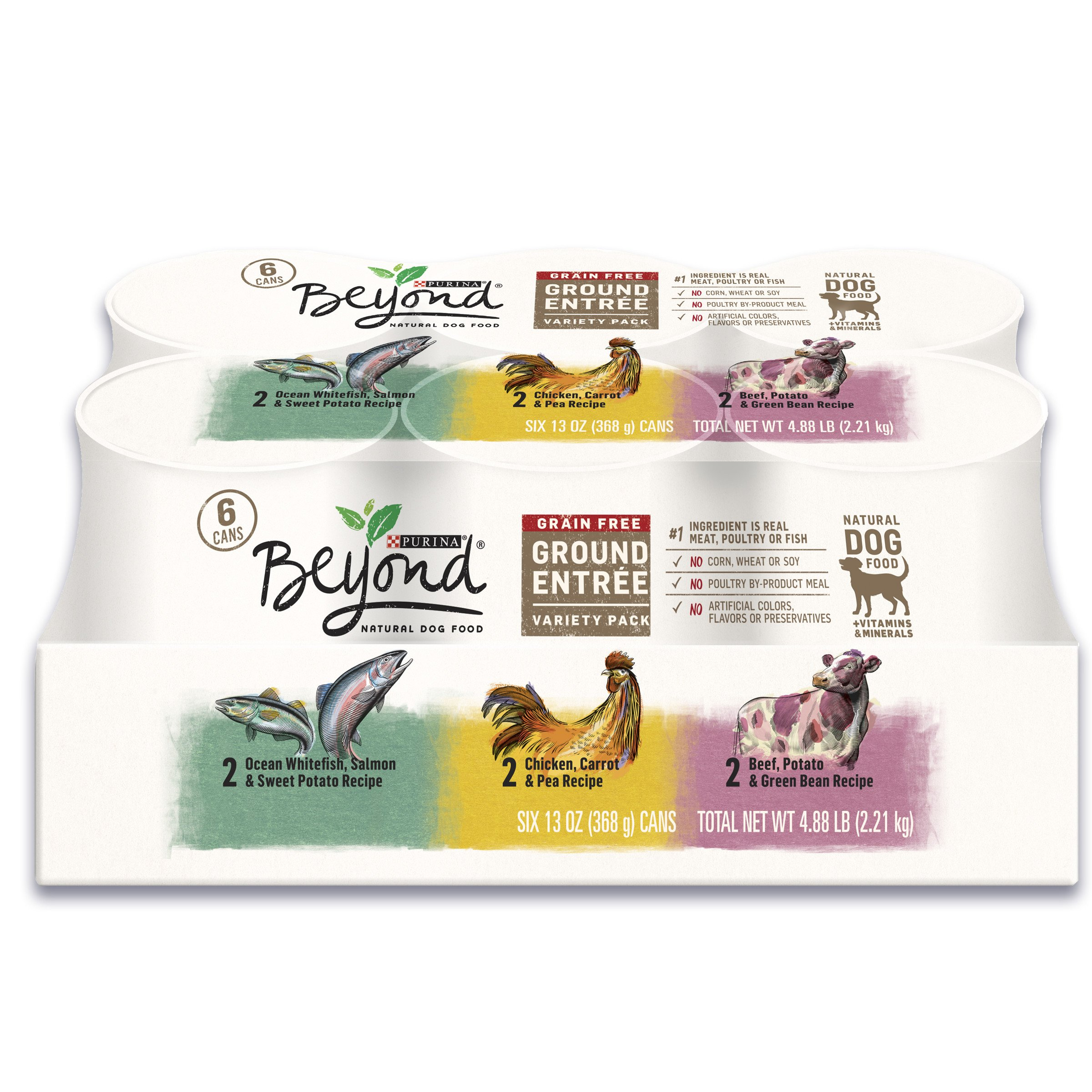 Purina Beyond Grain Free Ground Entrees Adult Wet Dog Food Variety Pack - Two (2) Packs of Six (6) 13 oz. Cans