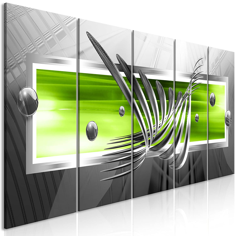 decomonkey Akustikbild Abstrakt 200x80 cm 5 Teilig Bilder Leinwandbilder Wandbilder XXL Schallschlucker Schallschutz Akustikdämmung Wandbild Deko leise 3D Effekt Kugeln schwarz grün