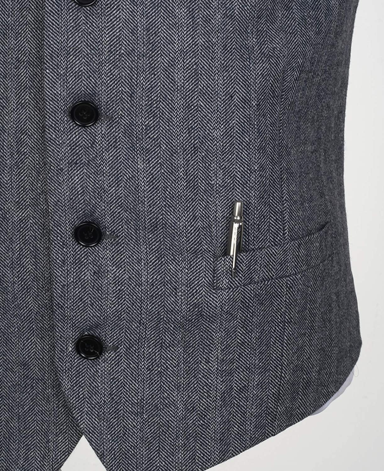 Ruth/&Boaz 2Pockets 4Buttons Wool Herringbone Tweed Tailored Collar Suit Vest