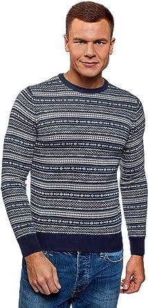 oodji Ultra Hombre Jersey de Punto de Jacquard