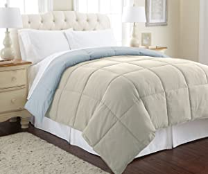 Amrapur Overseas | Goose Down Alternative Microfiber Quilted Reversible Comforter/Duvet Insert - Ultra Soft Hypoallergenic Bedding - Medium Warmth for All Seasons - [Queen, Oatmeal/Dusty Blue]