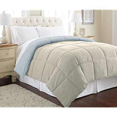 Amrapur Overseas | Goose Down Alternative Microfiber Quilted Reversible Comforter / Duvet Insert - Ultra Soft Hypoallergenic Bedding - Medium Warmth for All Seasons - [Queen, Oatmeal/Dusty Blue]