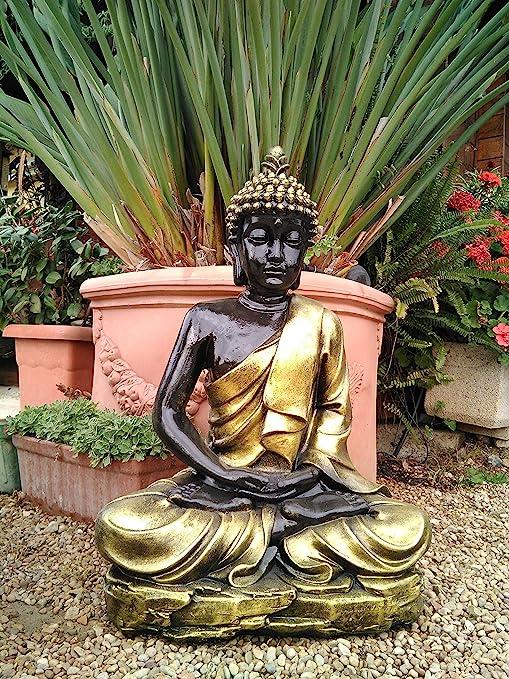 DEGARDEN AnaParra Figura Decorativa Buda del Amor Decorativa para Jardín o Exterior Hecho de hormigón-Piedra Artificial | Figura Buda Grande de 73cm, Color Dorado: Amazon.es: Jardín