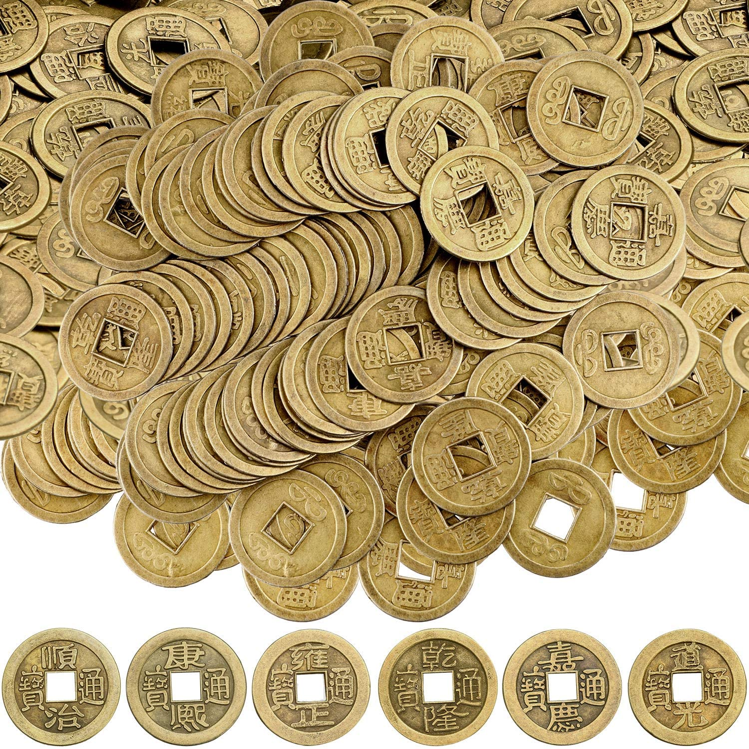 Chinese New Year Coin feng Shui Fortune i-Ching Money Good Luck Culture Gold Health Wealth Ancient Dynasty emper(100, 0.8 Inch) or Charms
