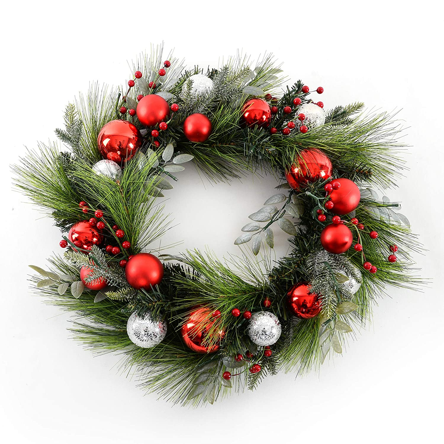 24 Inch Battery Operated Martha Stewart Red Ornament and Berry Pre-Lit Artificial Holiday Wreath Clear Lights
