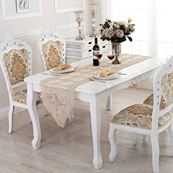 QXFSMILE Beige Lace Table Runner Embroidered Farbic Floral Table Cover 16  By 144 Inch