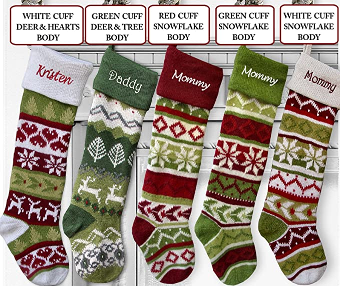 large personalized knit christmas stockings green cuff deer tree 4511104