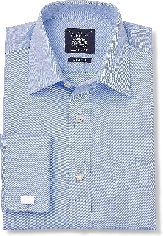 Savile Row Mens Sky Blue Twill Classic Fit Shirt French Cuff Cuff 16 Standard