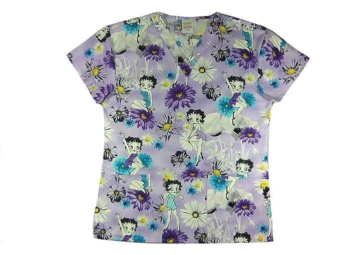 df0312d0ddf Amazon.com: CaringPlus Scrubs Women's Top V-neck Printed Sassy Betty ...