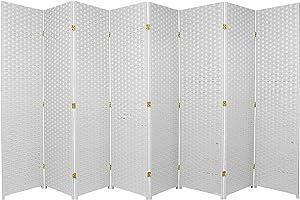 Oriental Furniture 6 ft. Tall Woven Fiber Room Divider - 8 Panel - White