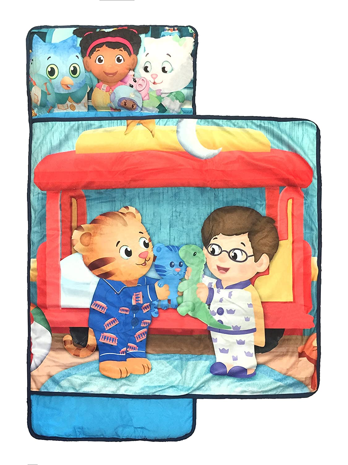 Jay Franco PBS Kids Daniel Tiger Let\'s Make Believe  Kids\'/Toddler/Children\'s Nap Mat with Built in Pillow and Blanket