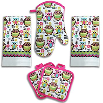 Delightful Bright Pink Owl Kitchen Decor 5 Piece Linen Set