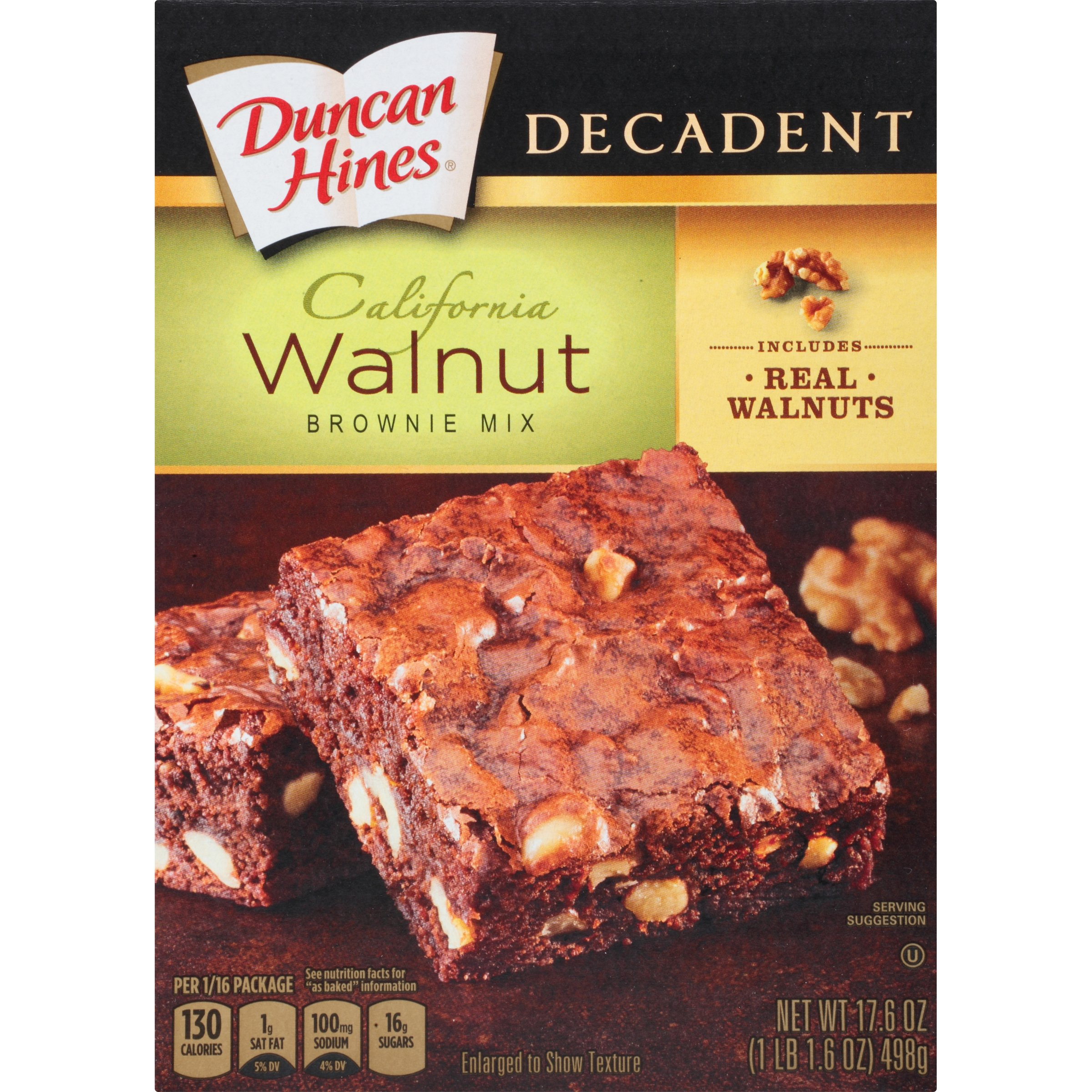 Duncan Hines Brownie Mix, Walnut, 17.6 Ounce (Pack of 6)