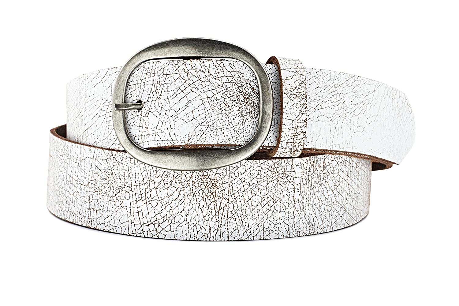 97a28ee8044 Naleeni Womens White Leather Belt with Buckle Options. Made in USA 1.5 Inch  Wide at Amazon Women s Clothing store