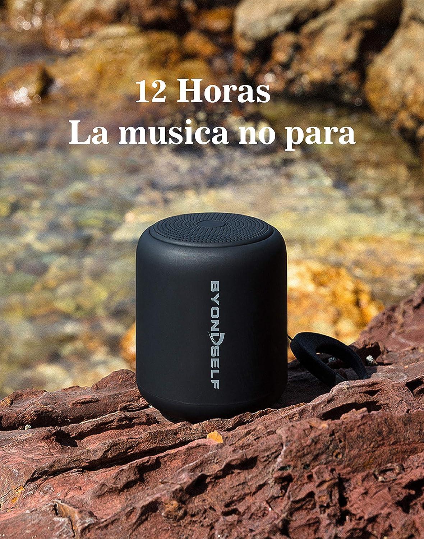 Altavoz Bluetooth Portátil, Altavoces Bluetooth Portátiles BYONDSELF Mini. Impermeable, 12 Horas de Reproducción, Micrófono, Radio FM, Inalámbrico, ...