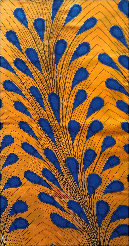 Orange Peacock African Print Fabric