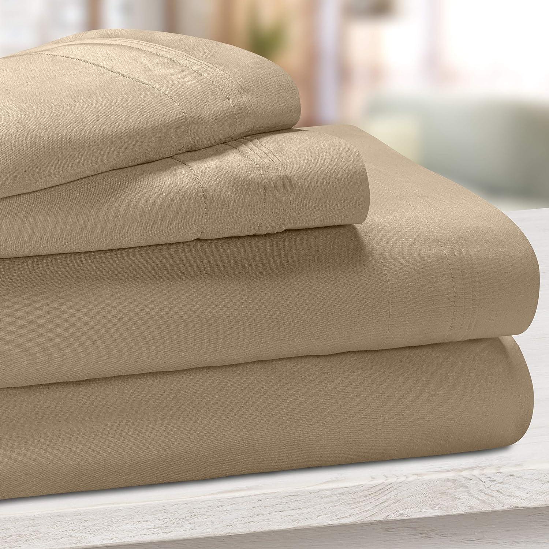SUPERIOR Egyptian Cotton, Solid, Deep Pocket Sheet Set, Split King, Taupe, 5-Piece Set
