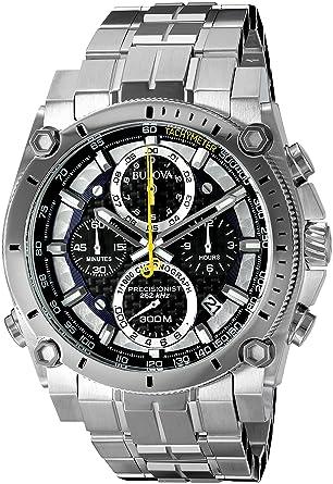 bulova precisionist chronograph men s uhf watch black dial bulova precisionist chronograph men s uhf watch black dial analogue display and silver stainless steel bracelet