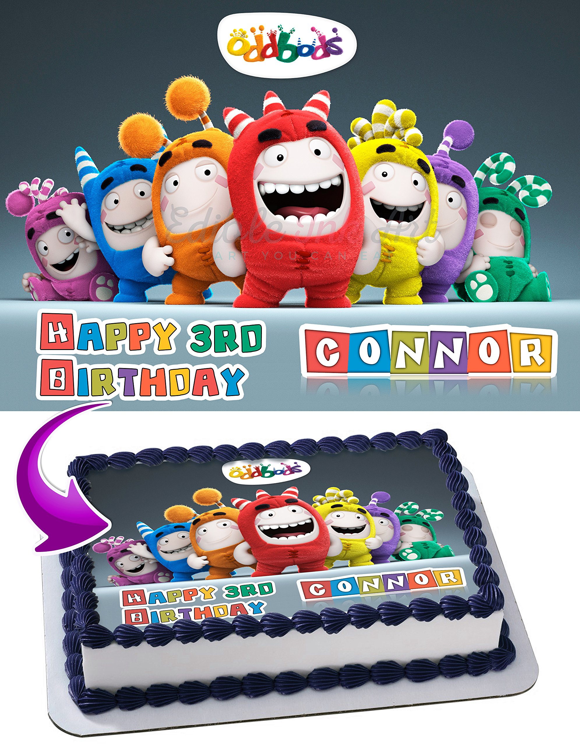Oddbods Edible Image Cake Topper Personalized Icing Sugar Paper A4 Sheet Edible Frosting Photo Cake 1/4 ~ Best Quality Edible Image for cake
