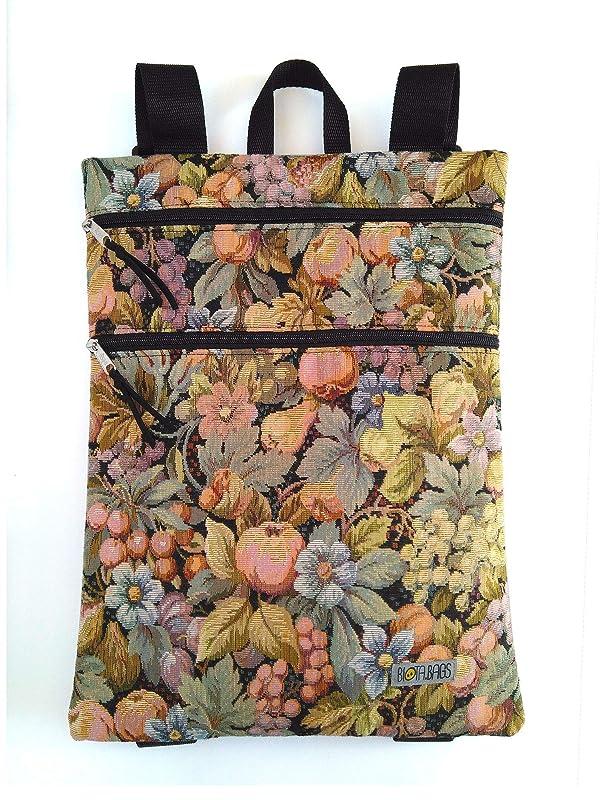 Mochila de tela tapicería, plana con cremalleras: Amazon.es