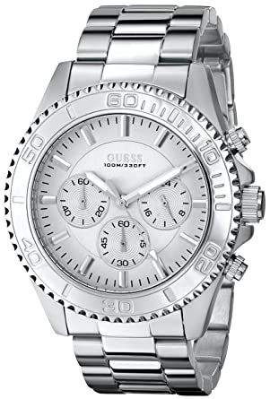 b887d0223 Buy GUESS Men's U0170G6 Sleek Silver Dial Stainless Steel Chronograph Watch  Online at Low Prices in India - Amazon.in
