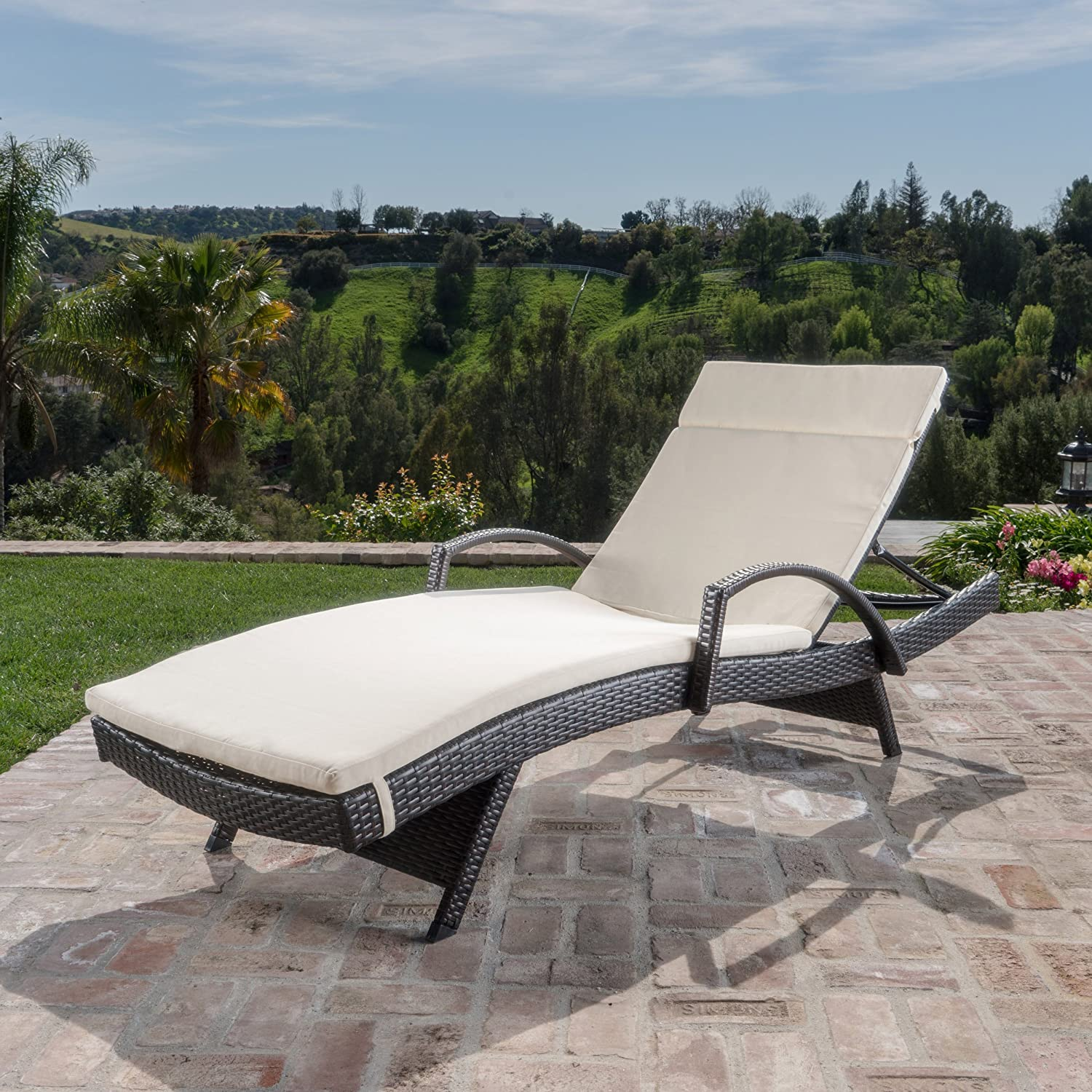 Christopher Knight Home Salem Outdoor Wicker Chaise Lounge Chair With Arms With Cushion, Brown Beige