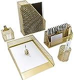 Blu Monaco 5 Piece Cute Gold Desk Organizer Set - Desk Organizers and Accessories for Women - Cute Office Gold Desk…