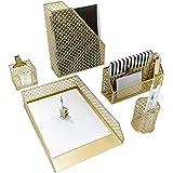 Blu Monaco 5 Piece Cute Gold Desk Organizer Set - Desk Organizers and Accessories for Women - Cute Office Gold Desk Accessori