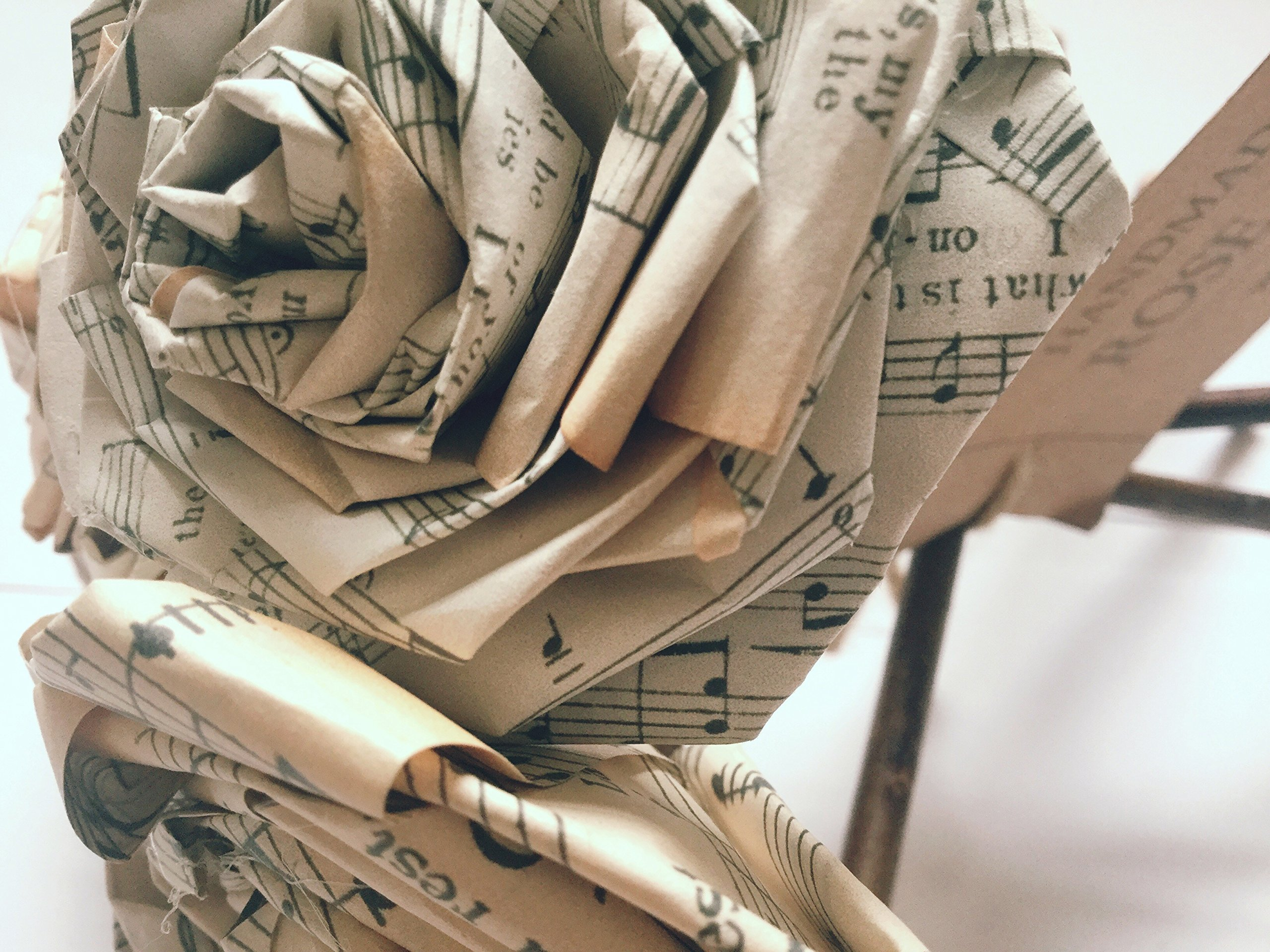 Old Music Notes Paper Rose Bouquet Vintage Home Decor Artificial Flora Flowers Gift for Her Him Music Lover Musician Wedding Paper Flower Bouquets Handmade (Bunch of 5-6)