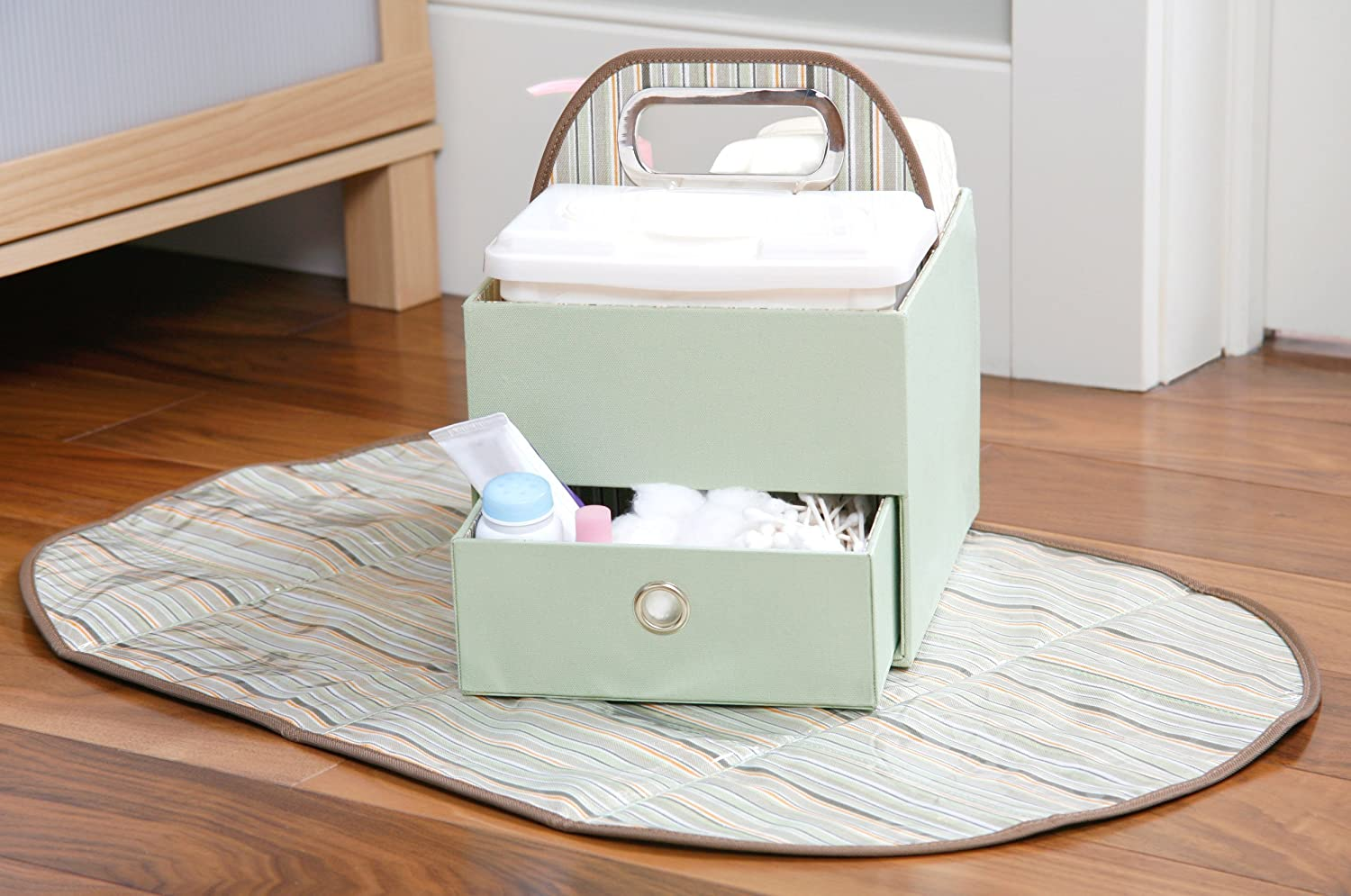 Amazon.com : JJ Cole Collections Diaper Caddy, Green Stripe (Older Version)  (Discontinued by Manufacturer) : Baby Diaper Changing Kits : Baby