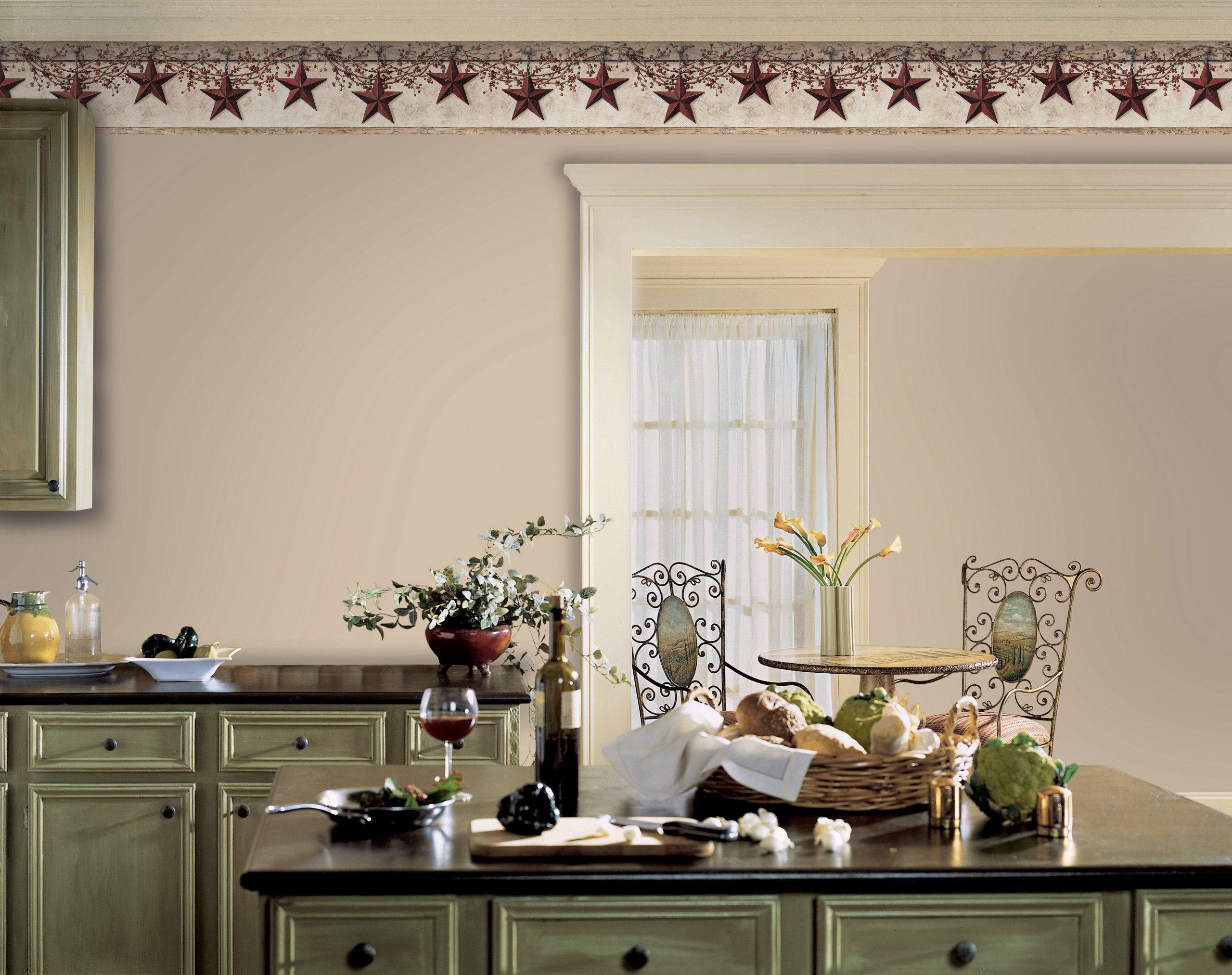 York Wallcoverings Best Of Country HK4664BD Hanging Star Border, Off White/Khaki by York Wallcoverings (Image #2)