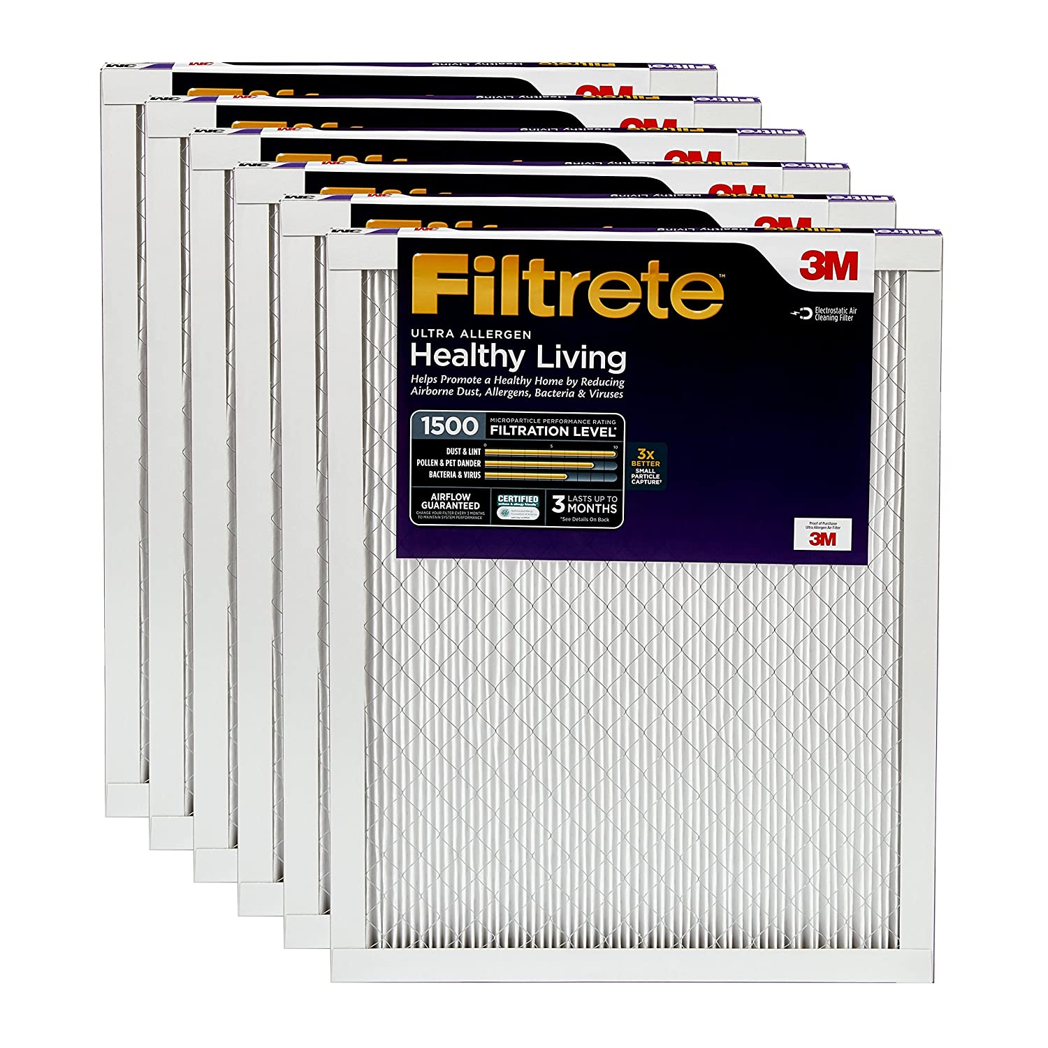 4. Filtrete Healthy Living Ultra Allergen UR02-6PK-1E - 3M Air Filter 20x20x1