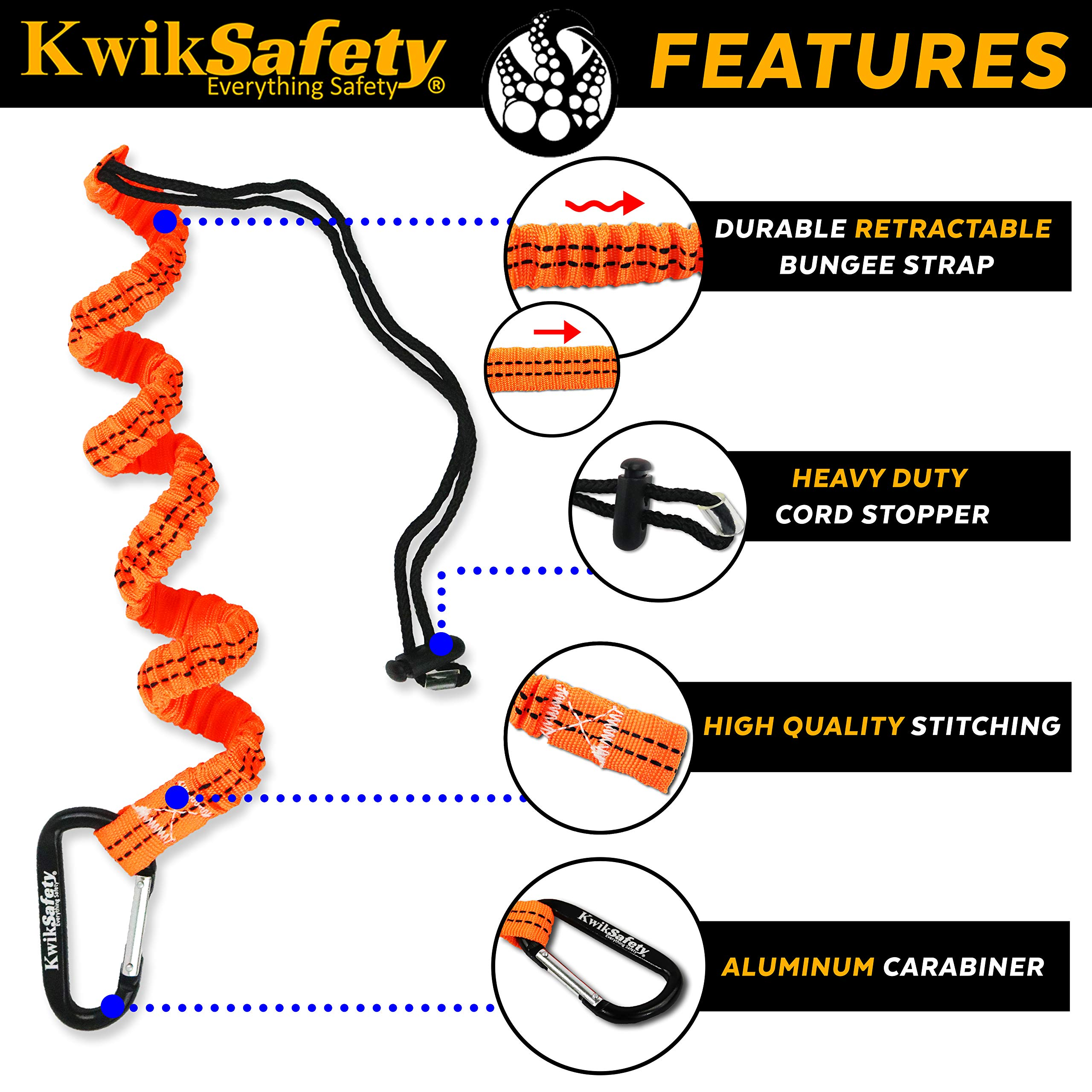 KwikSafety (Charlotte, NC) PYTHON (COMBO) Double Leg 6ft Tubular Stretch Safety Lanyard | OSHA ANSI Fall Protection EXTERNAL Shock Absorber | Construction Arborist Roofing | Snap Rebar Hook Connector by KwikSafety (Image #4)
