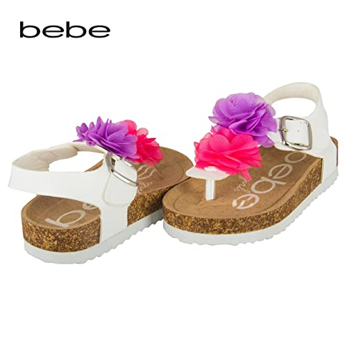 Amazon bebe toddler girls thong sandal with chiffon flowers 9 amazon bebe toddler girls thong sandal with chiffon flowers 910 multi white sandals mightylinksfo