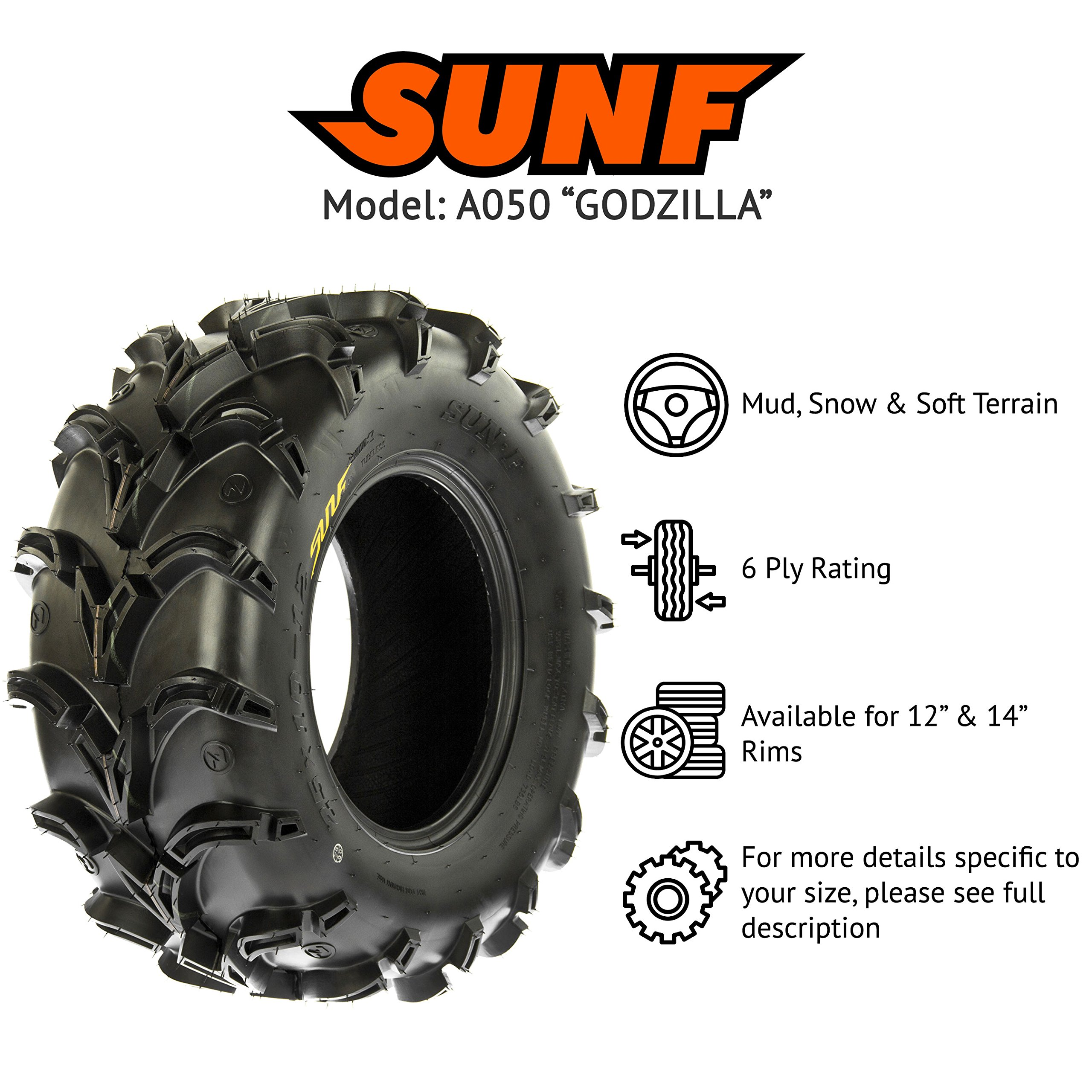 SunF A050 AT Mud & Trail 25x11-10 ATV UTV Tires, 6PR, Tubeless by SunF (Image #2)