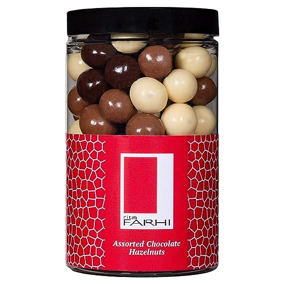 Rita Farhi Milk Dark And White Chocolate Covered Hazelnuts In A Gift Jar Vegetarian And Chocolate Gift Chocolate Coated Nuts 285 G