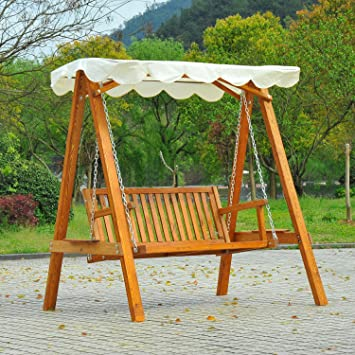 Homcom Balancelle balancoire hamac Banc Fauteuil de Jardin Bois de ...