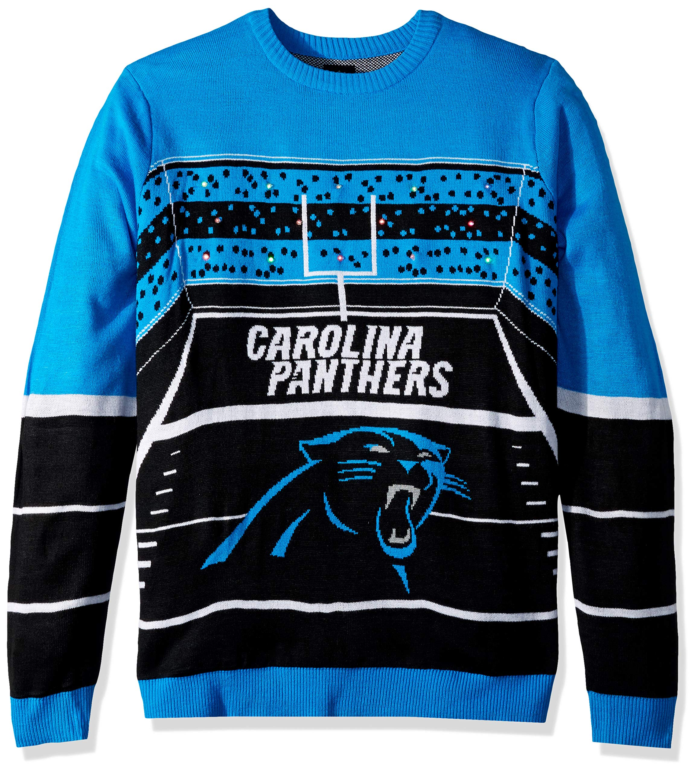 FOCO NFL Carolina Panthers Mens Stadium Light Up Crew Neck Sweaterstadium Light Up Crew Neck Sweater, Team Color, Large