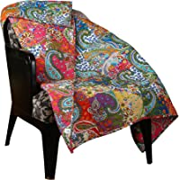 Rajrang Patchwork Decorative Floral Throw Blanket Multi Color Super Soft Warm Indian Vintage Reversible Quilt For Sofa and Couch
