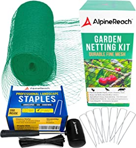 AlpineReach Garden Netting Kit 7.5 x 65 Feet Green & 200 Galvanized Steel Staples & 16 oz Mallet