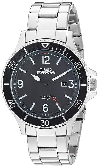 faaa7bec2a91 Timex de los hombres tw4b10900 Expedition Ranger Plata Negro pulsera de  acero inoxidable reloj