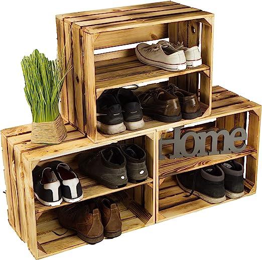 Lot de 3 caisses à chaussures en bois flammé, avec 3 étagères, pour 12 paires de chaussures, dimensions : 50 x 40 x 30 cm (une caisse), étagère solide