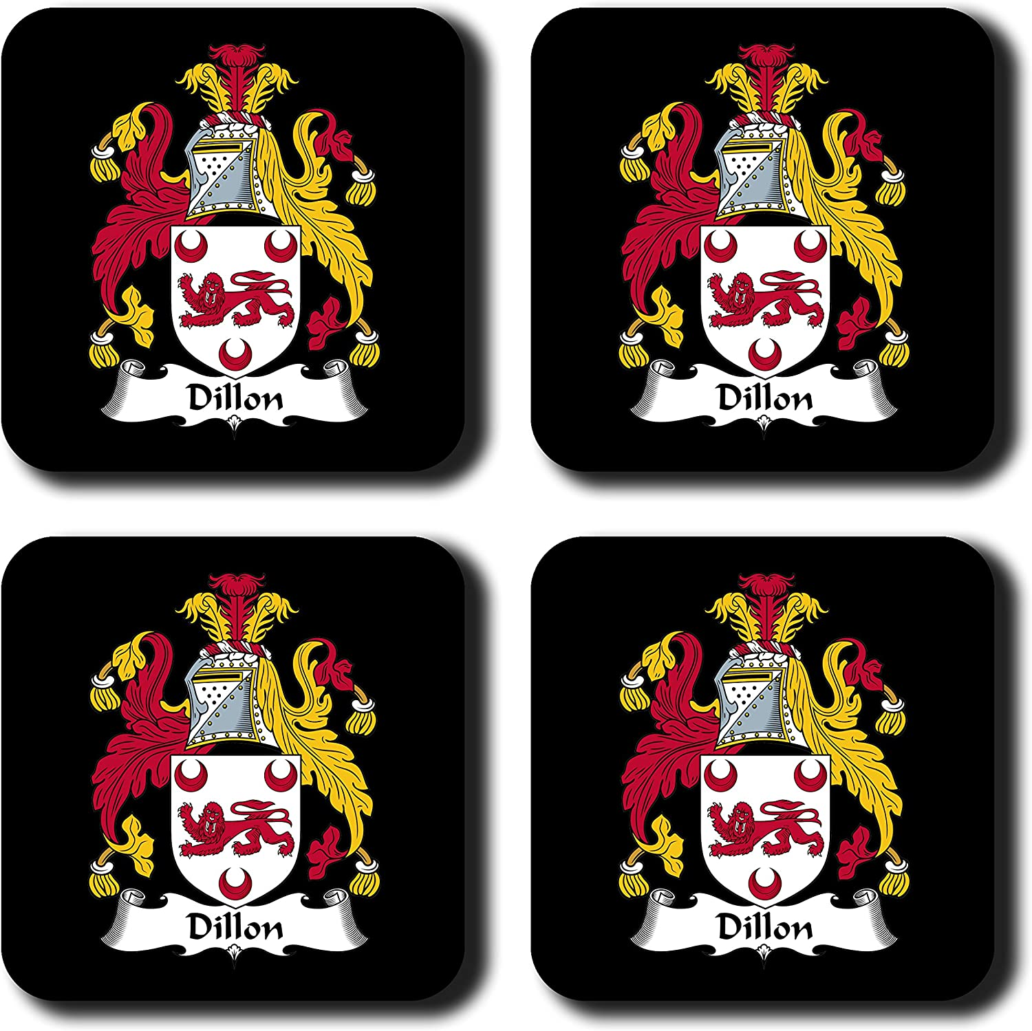 Dillon Coat of Arms/Family Crest Coaster Set, by Carpe Diem Designs – Made in the U.S.A.