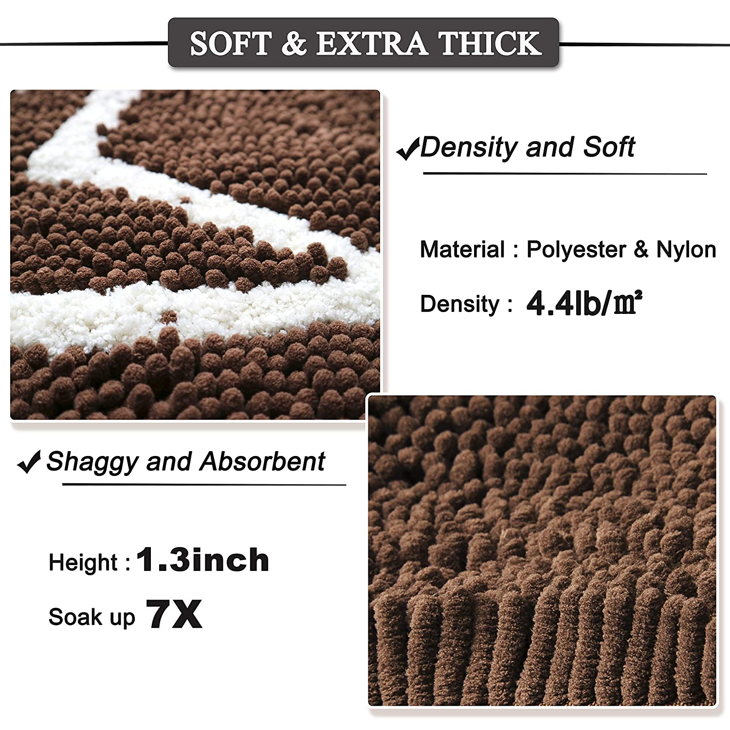 Water Absorbent Non Slip Chenille Bath Rugs Prevent Mud Dirt Bath Mat for Bathroom Rugs Machine Washable Quick Drying Plush Carpet Mats for Kitchen Bedroom Entry Pet 1.3 Inch Indoor Dog Door Mat