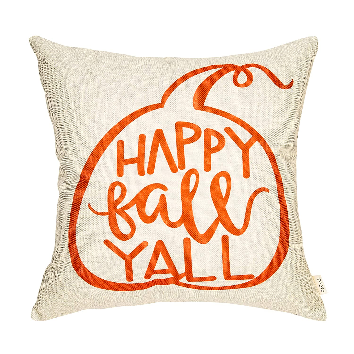 Fjfz Rustic Farmhouse Decoration Happy Fall Yall Cute Pumpkin Autumn Decor Cotton Linen Home Decorative Throw Pillow Case Cushion Cover for ...