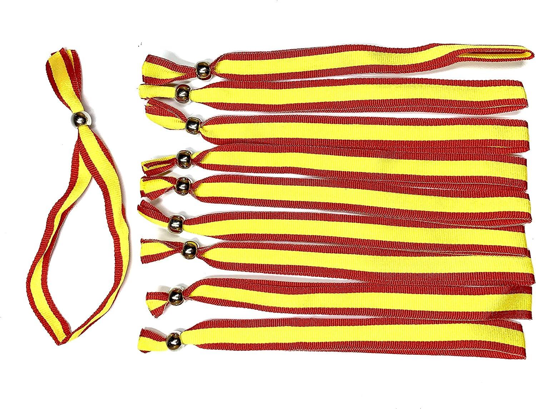 Pack 10 Pulseras Cinta Bandera España - Pulsera de Tela para Hombre y Mujer - Tamaño Ajustable Mediante Pasador - Fácil de Poner o Quitar - Colores España: Amazon.es: Joyería