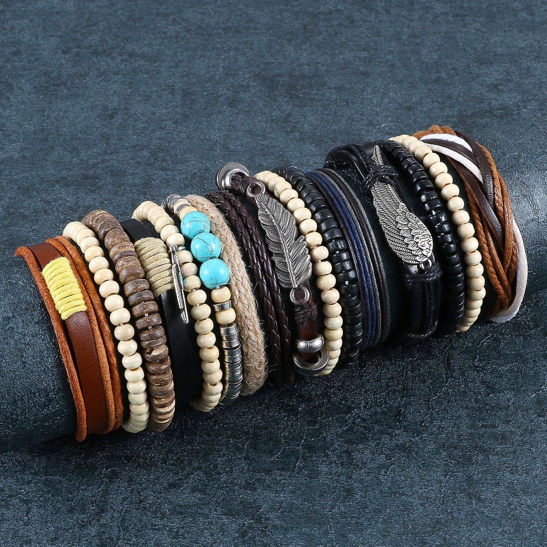 Aroncent 16 Pcs Wooden Beaded Bracelets for Men Women Leather Cuff Bracelet Elastic 7-8.5inches Adjustable